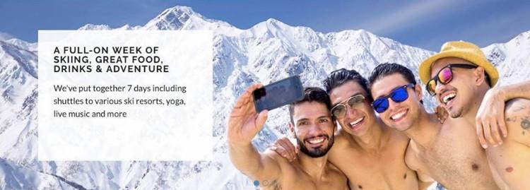 Gay Ski Week in Hakuba boys taking selfie